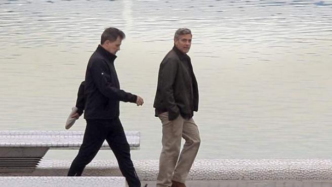 George Clooney en el rodaje de 'Tomorrowland' en la Ciudad de las Artes y las Ciencias de Valencia.