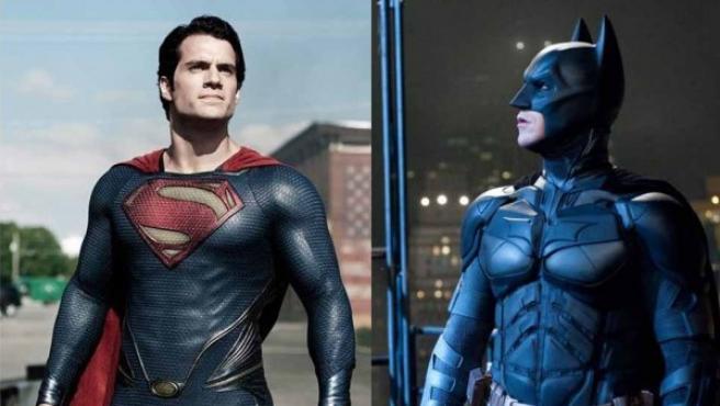 Montaje con los dos personajes de DC Comics, Superman y Batman.
