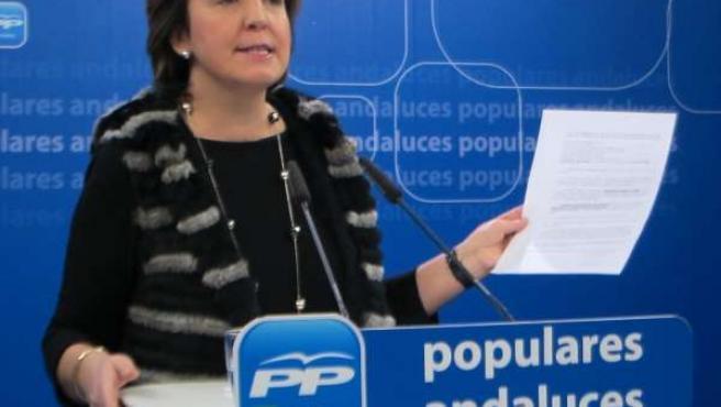 Ana Corredera en una rueda de prensa en el PP-A