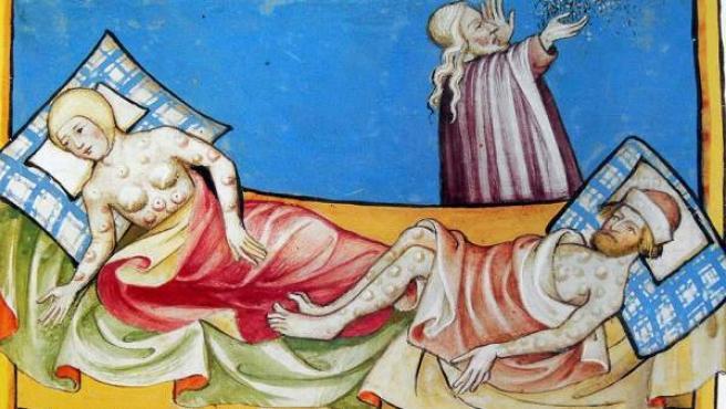 Una ilustración del siglo XVI sobre los efectos de la peste en los humanos.