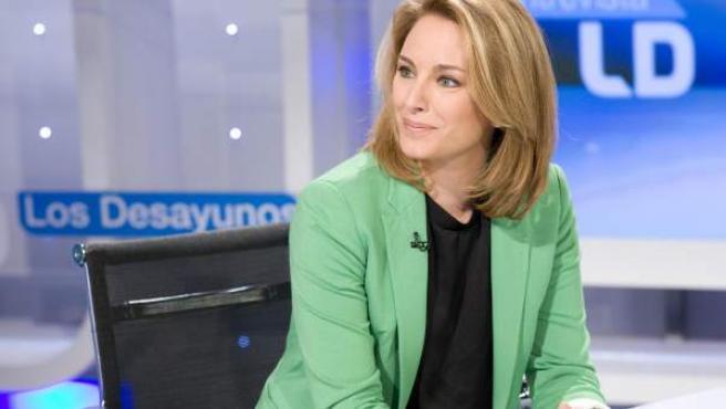 La presidenta del PP vasco, Arantza Quiroga, durante la entrevista en 'Los Desayunos de TVE'.