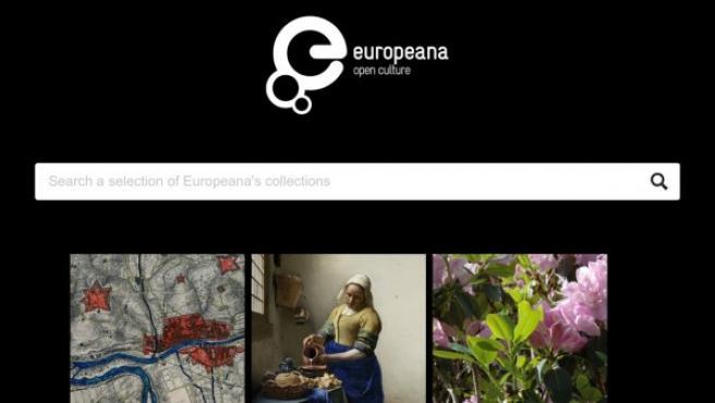 Captura de la interfaz de la aplicación de Europeana