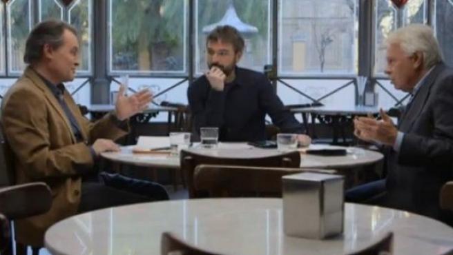 Artur Mas y Felipe González, moderados por Jordi Évole en el programa 'Salvados'.