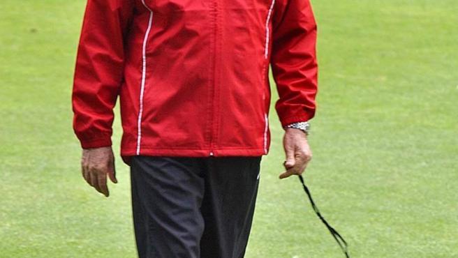 Luis Aragonés, en su última etapa como entrenador del Atlético de Madrid (2001-2003).