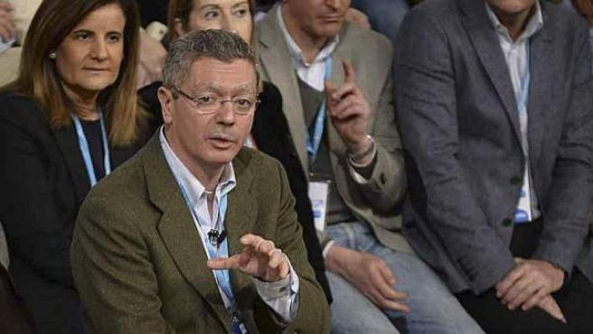 El ministro de Justicia, Alberto Ruiz Gallardón, participa en la Convención Nacional del PP celebrada en Valladolid.