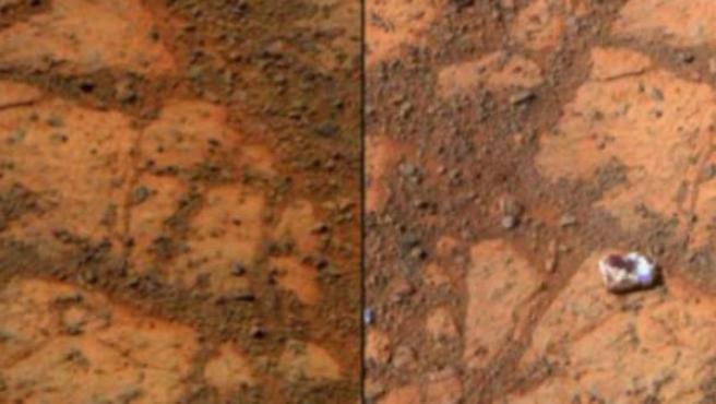 Imagen de la roca hallada en Marte, conocida popularmente como el 'donut de mermelada'.