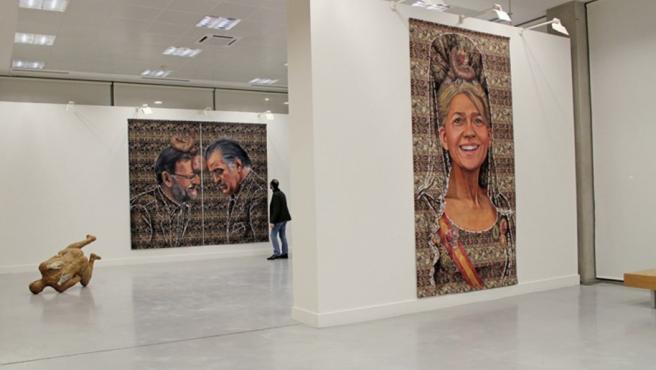 Imagen de las dos obras polémicas de la exposición del artista Ausín Sáinz, que ha sido censurada por el Ayuntamiento.