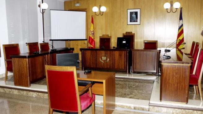 Vista de la sala F del Juzgado de Instrucción número 3 de Palma, donde prestará declaración la infanta Cristina ante el juez instructor del caso Nóos, José Castro.