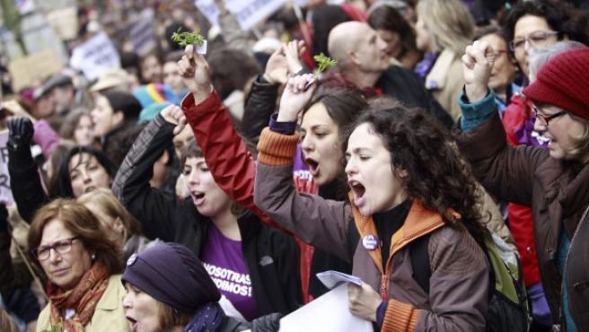 Manifestación contra la reforma del aborto en Madrid.