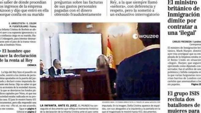 Imagen de la infanta Cristina, declarando ante el juez, publicada en 'El Mundo'.
