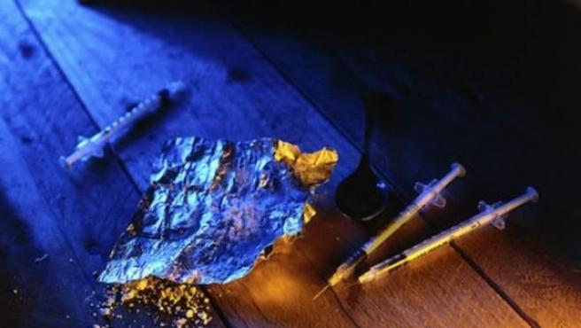 Material para preparar una dosis de heroína.