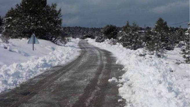 Nieve, nevada, carretera nevada, frío, helada