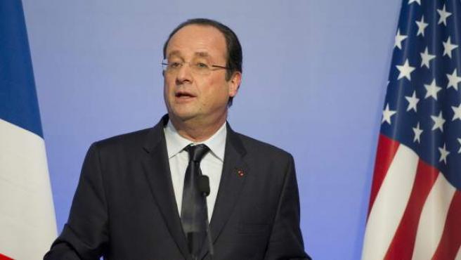 El presidente de Francia, François Hollande, pronuncia un discurso durante el evento US French Tech Hub, en San Francisco.