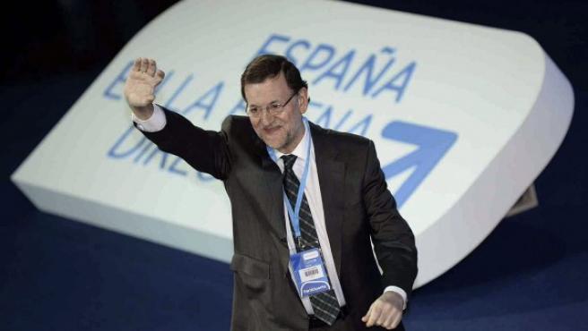 El presidente del Gobierno durante la Convención Nacional del PP celebrada en Valladolid a principios de febrero.