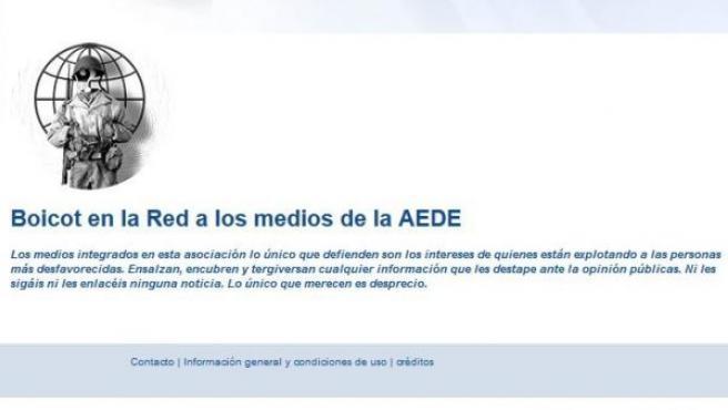 Imagen de la web de AEDE, en el momento de ser 'hackeada'.