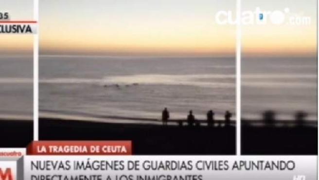 Imágenes de la actuación de la Guardia Civil cuando un grupo de inmigrantes intenta llegar a nado a Ceuta.