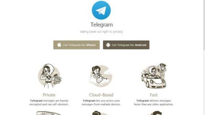 Portada de la web principal de Telegram, servicio de mensajería instantánea.