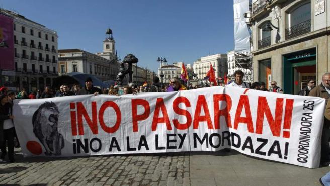 Pancarta de la marea ciudadana contra la denominada 'ley mordaza'.