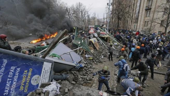 Una barricada en el centro de Kiev.