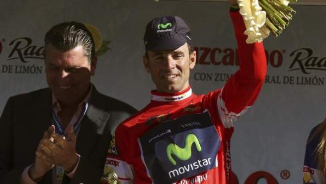El murciano Alejandro Valverde, en el podio final de la Vuelta a Andalucía 2014.