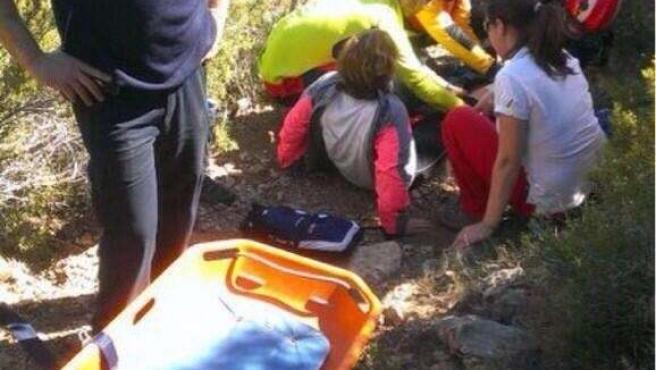 Rescate de la excursionista accidentada en Borriol