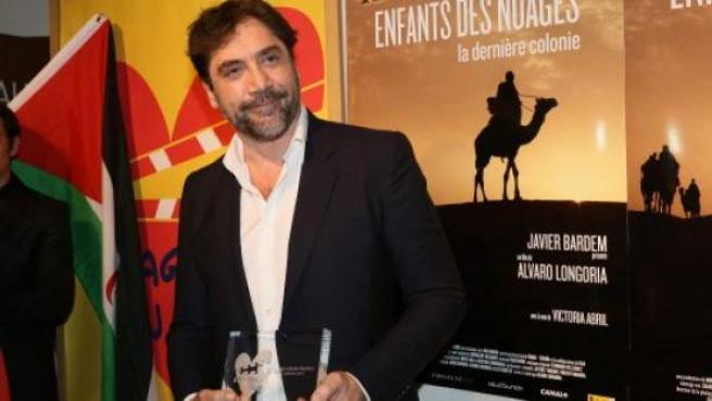 El actor Javier Bardem presenta la película 'Los hijos de las nubes' en París.
