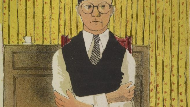 Autorretrato de David Hockney en una litografía que hizo a los 17 años