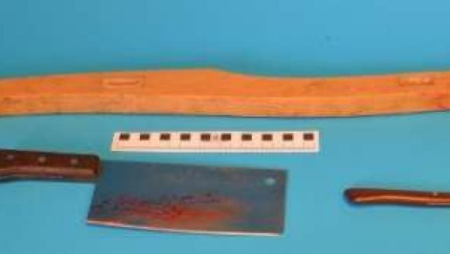 Armas con las que han intentado matar a un indigente en Palma