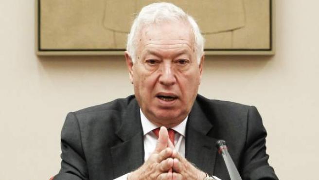 El ministro de Asuntos Exteriores, José Manuel García-Margallo, durante una comparecencia a petición propia en la Comisión de Exteriores del Congreso.