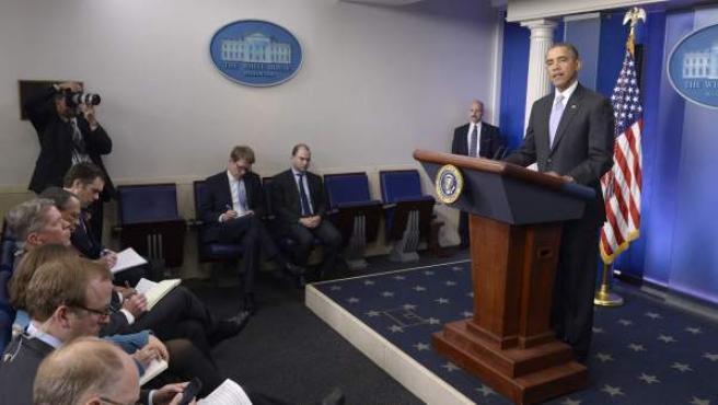 El presidente de los Estados Unidos, Barack Obama, habla sobre la situación en Ucrania en la Casa Blanca.