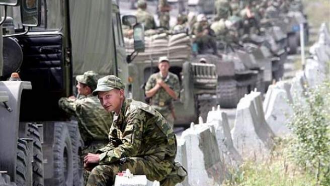 Tropas rusas en Osetia del Sur en 2008.