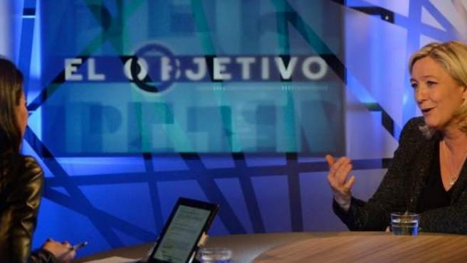 Marine Le Pen, candidata del Frente Nacional de Francia a las elecciones europeas, ha concedido una entrevista al programa 'El Objetivo' de Ana Pastor (La Sexta).