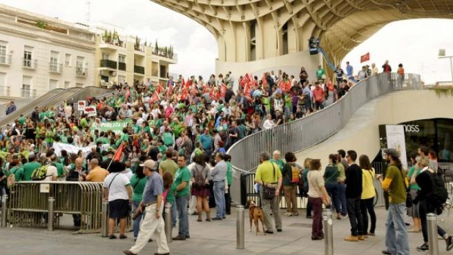 La Marea Verde organiza una asamblea-concentración en la Plaza de la Encarnación de Sevilla, para apoyar la convocatoria de huelga en el sector de la Educación, para luchar contra la LOMCE.