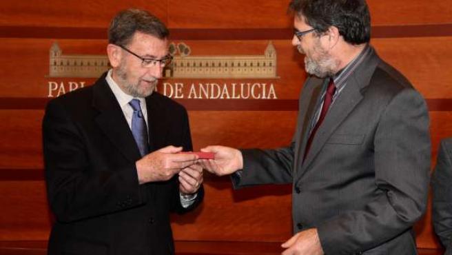 Manuel Gracia y Antonio López en el Parlamento