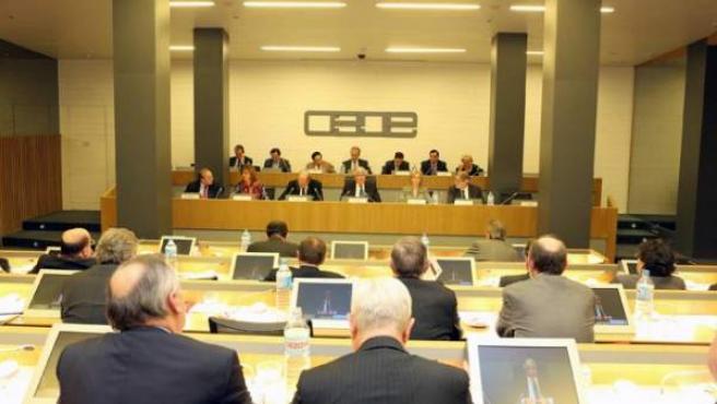 Miembros de la dirección de Ceim reunidos en el salón de actos de la patronal empresarial.