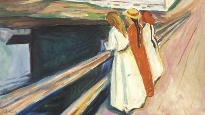 La obra de Edvard Munch The girls on the Bridge (1927)