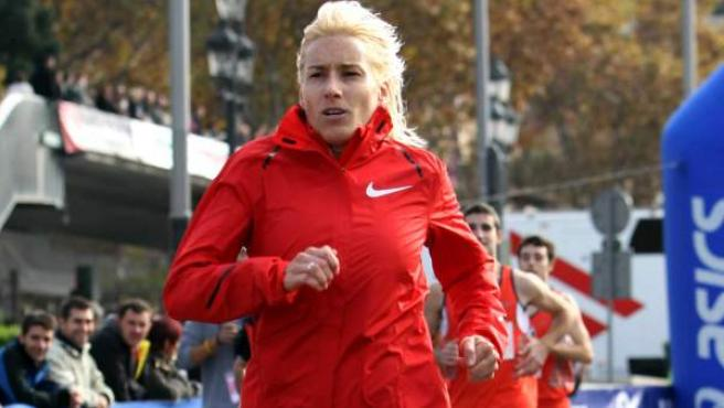 Marta Domínguez, en una carrera.