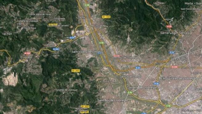 Imagen vía satélite de Sant Vicenç dels Horts, en Barcelona.