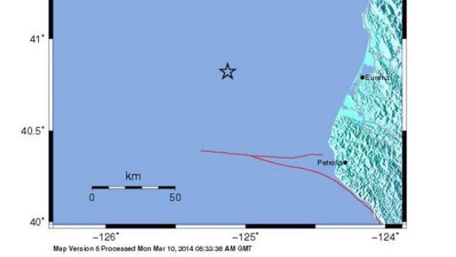 Mapa que localiza terremoto de 6,8 grados, según la escala de Richter en la costa norte de California.