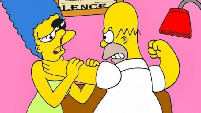 El artista Alexandro Palombo reproduce como víctima de la violencia de género a Marge Simpson.