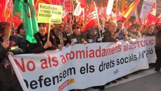 Protesta sindical en Barcelona.