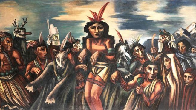 """El artista lituanoBoris Deutsch pintó en una pequeña oficina de Correos de Nuevo México este mural dedicado a la """"danza del oso"""" apache"""