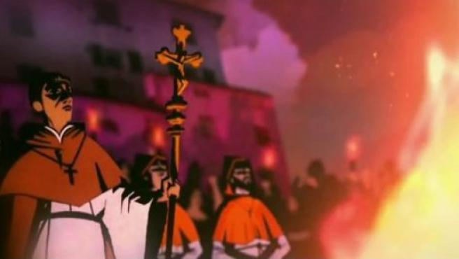 Imagen de la historia de Giordano Bruno narrada en el primer episodio de 'Cosmos'.