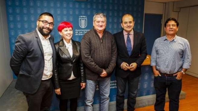 Israel Reyes, Mº García Bolta, Tito Rosales, Juan J. Cardona y Alberto Trujillo