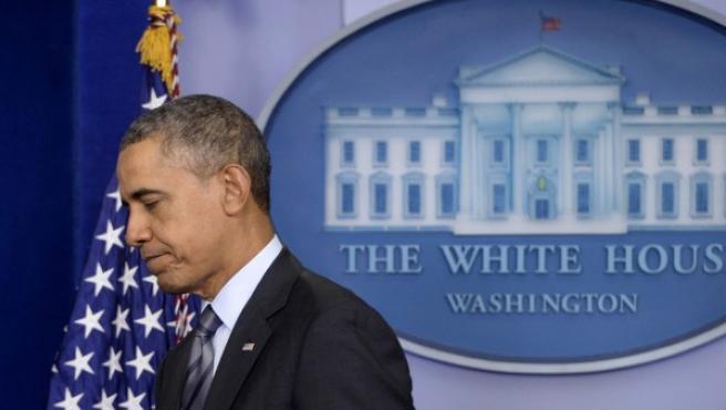 El presidente estadounidense Barack Obama, tras hablar sobre la situación de Ucrania.