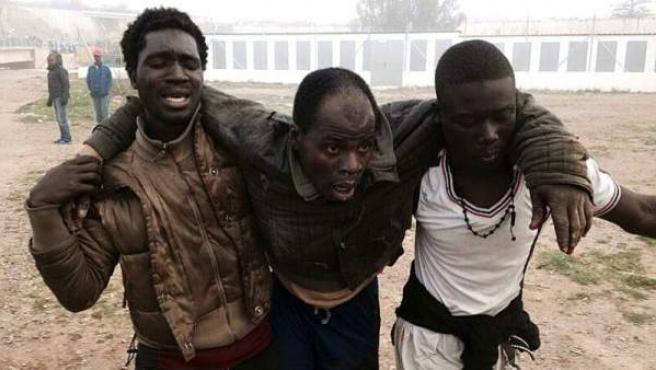 Uno de los inmigrantes que ha saltado la valla en Melilla, herido y auxiliado por dos de sus compañeros.