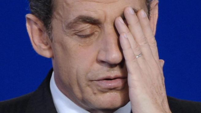 Fotografía de archivo del 25 de abril de 2012 que muestra al expresidente francés Nicolás Sarkozy durante un acto de campaña.