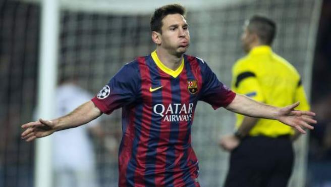 Leo Messi celebra su gol ante el Manchester City.