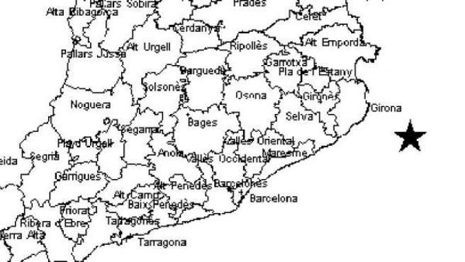 El mapa del Institut Cartogràfic i Geogràfic de Catalunya sitúa el epicentro del terremoto.