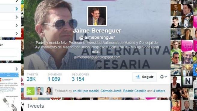 Perfil en la red social Twitter de Jaime Berenguer, concejal de UPyD.